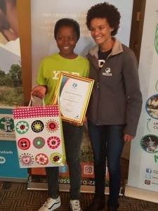 Thembi Mathebula from Mpontsheng Secondary School, 3rd prize winner for the category Articles 15-18 years
