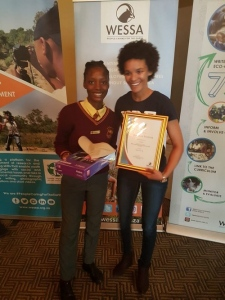 Tholwana Malema from Mpontsheng Secondary School, 1stprize winner for the category Videos 15-18 years